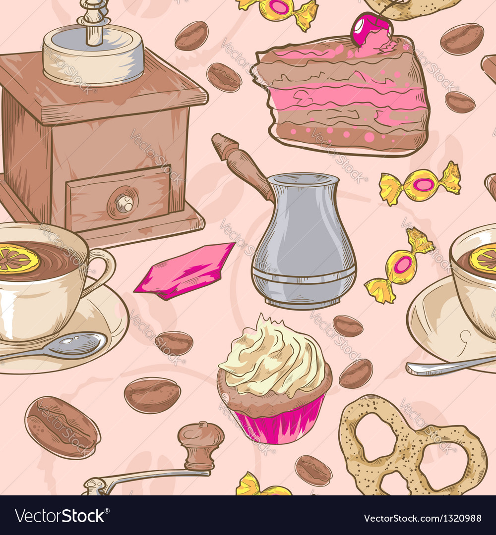 Sweet coffee and candies seamless pattern