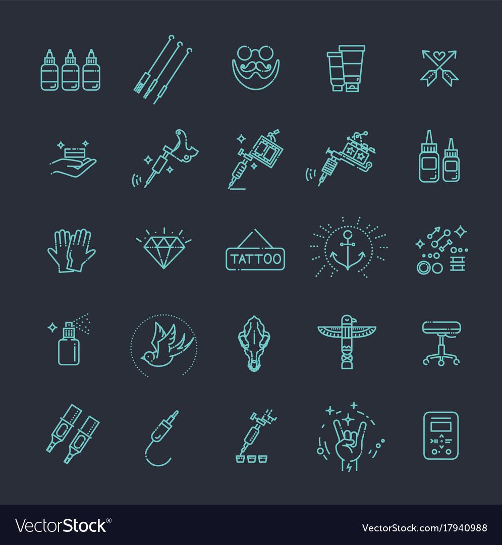 Tattoo salon master icon set