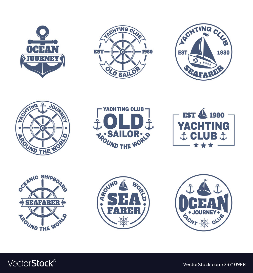 Yacht or ship boat icons for nautical travel