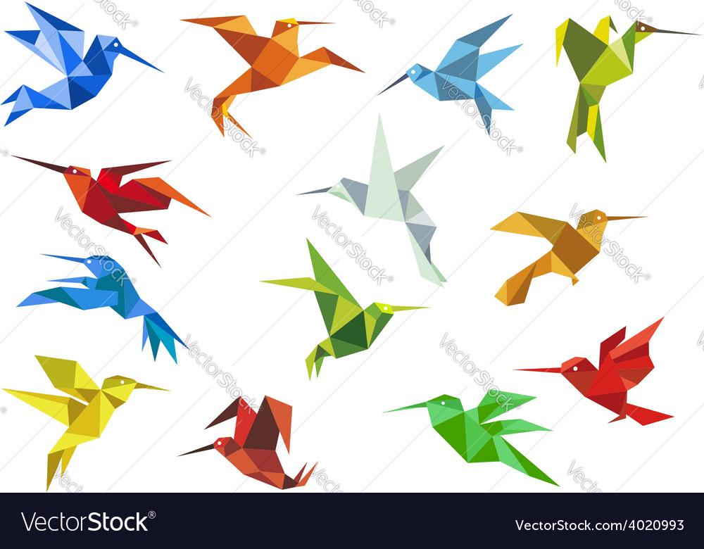 Abstract origami hummingbirds design elements vector image