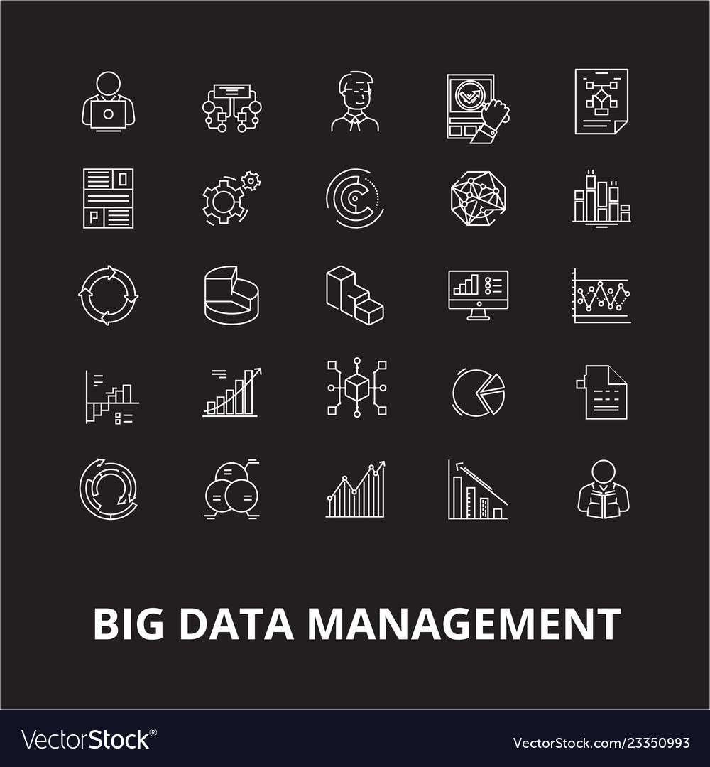 Big data management editable line icons set