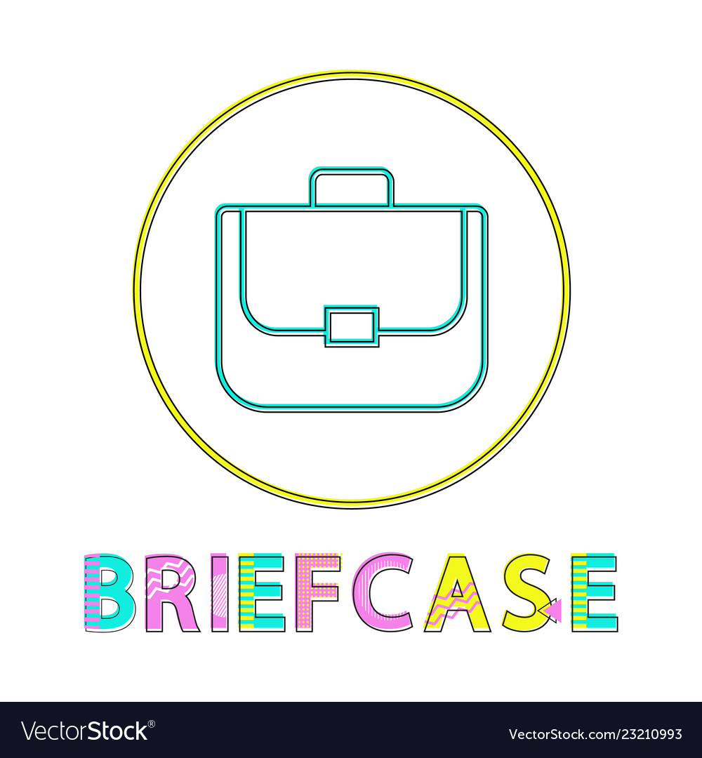 Briefcase bright linear round web icon template