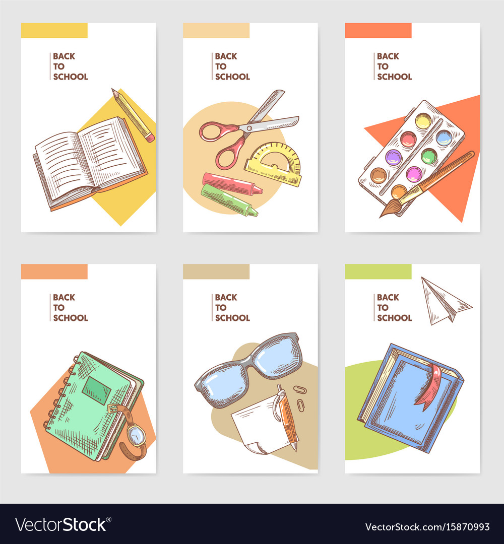 Tremendous Hand Drawn Back To School Cards Brochure Design Vector Image Funny Birthday Cards Online Fluifree Goldxyz