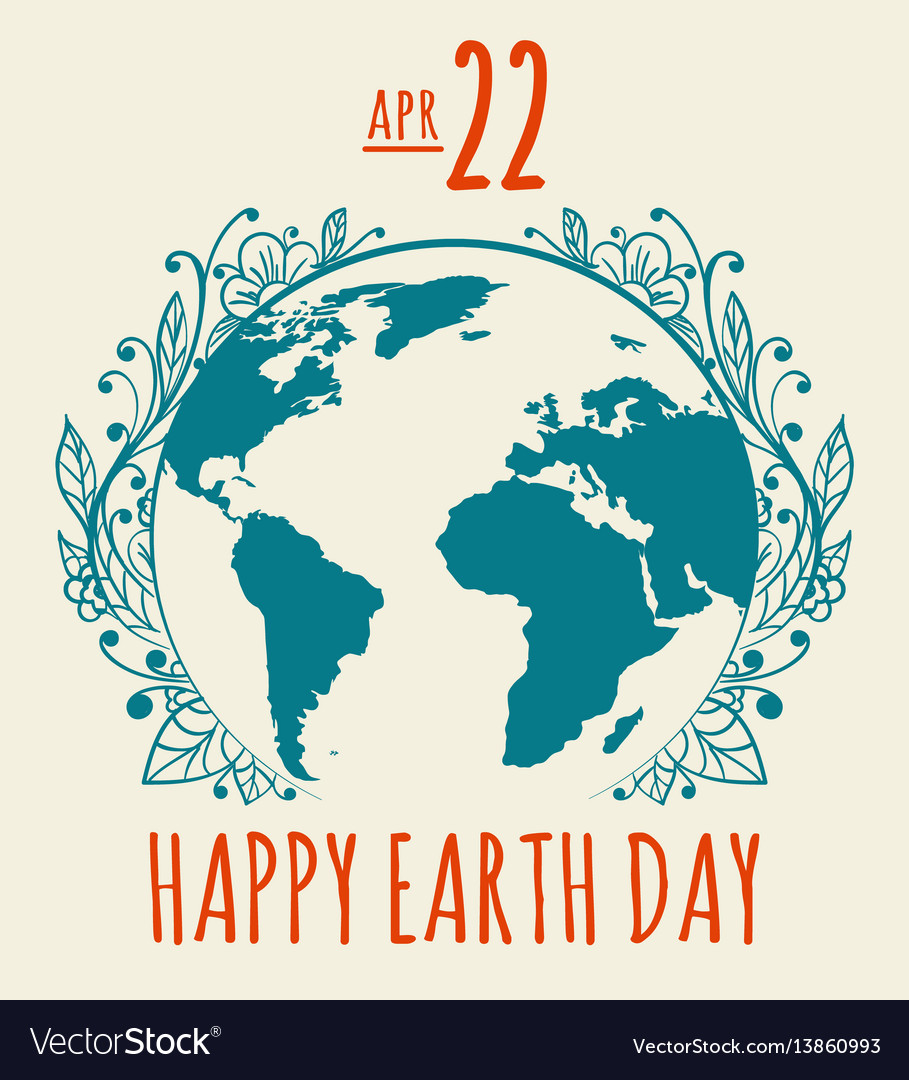 Happy earth day poster in retro style