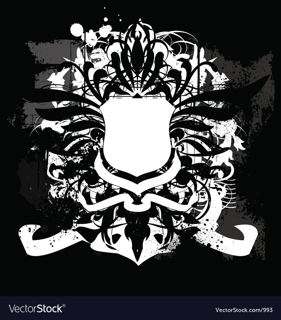 Heraldry grunge shield vector image