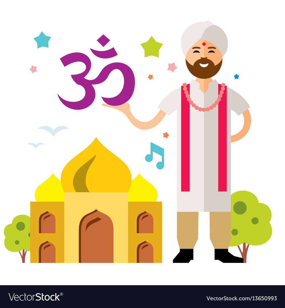 India country flat style colorful cartoon
