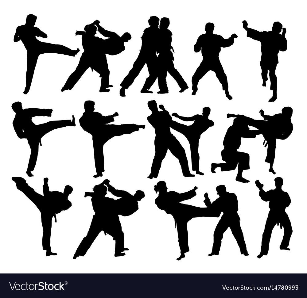 Judo sport activity silhouettes