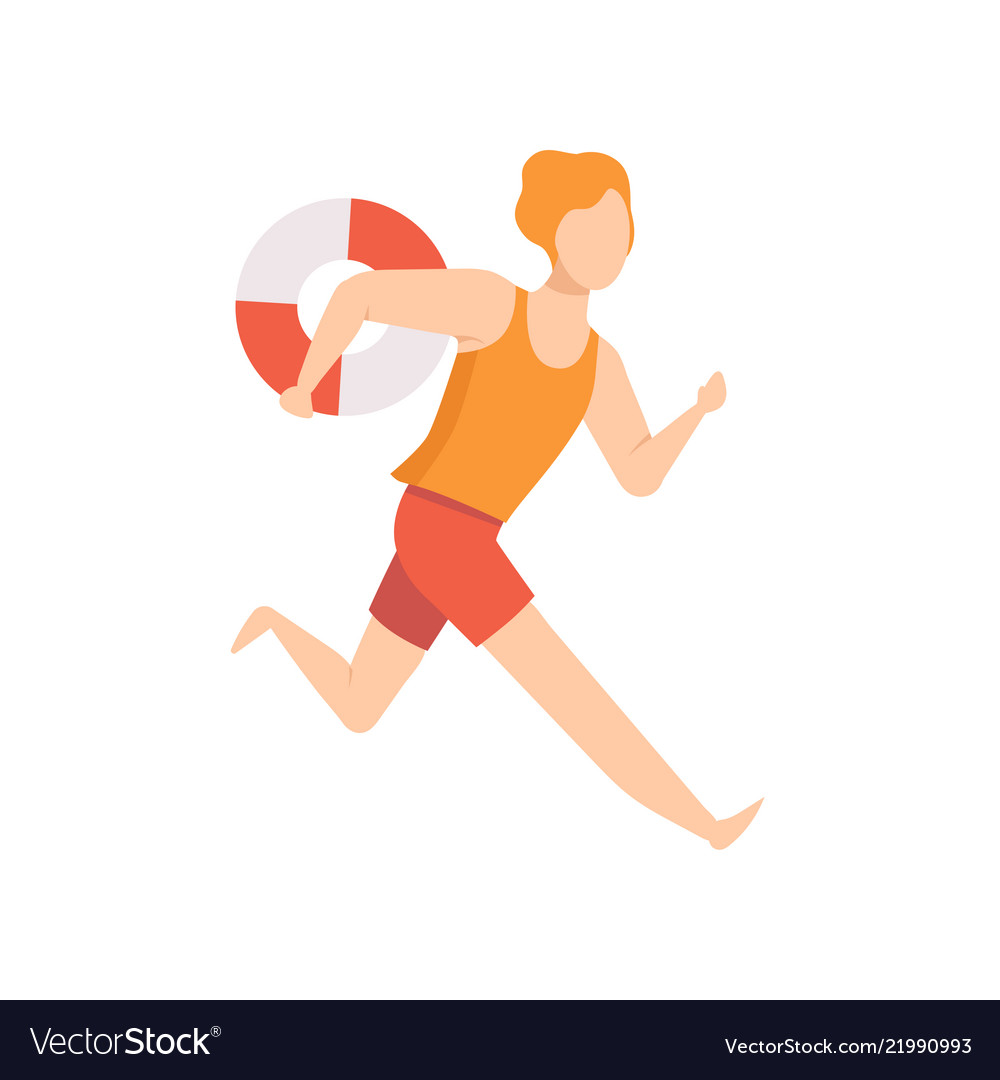 09242259c1c9 Male lifeguard character running with lifebuoy Vector Image