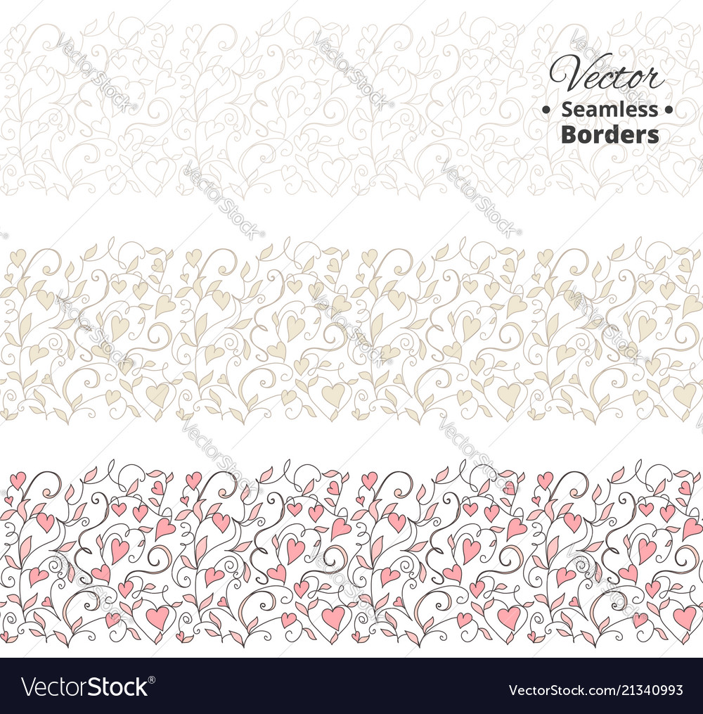 Seamless love borders wedding floral pattern with