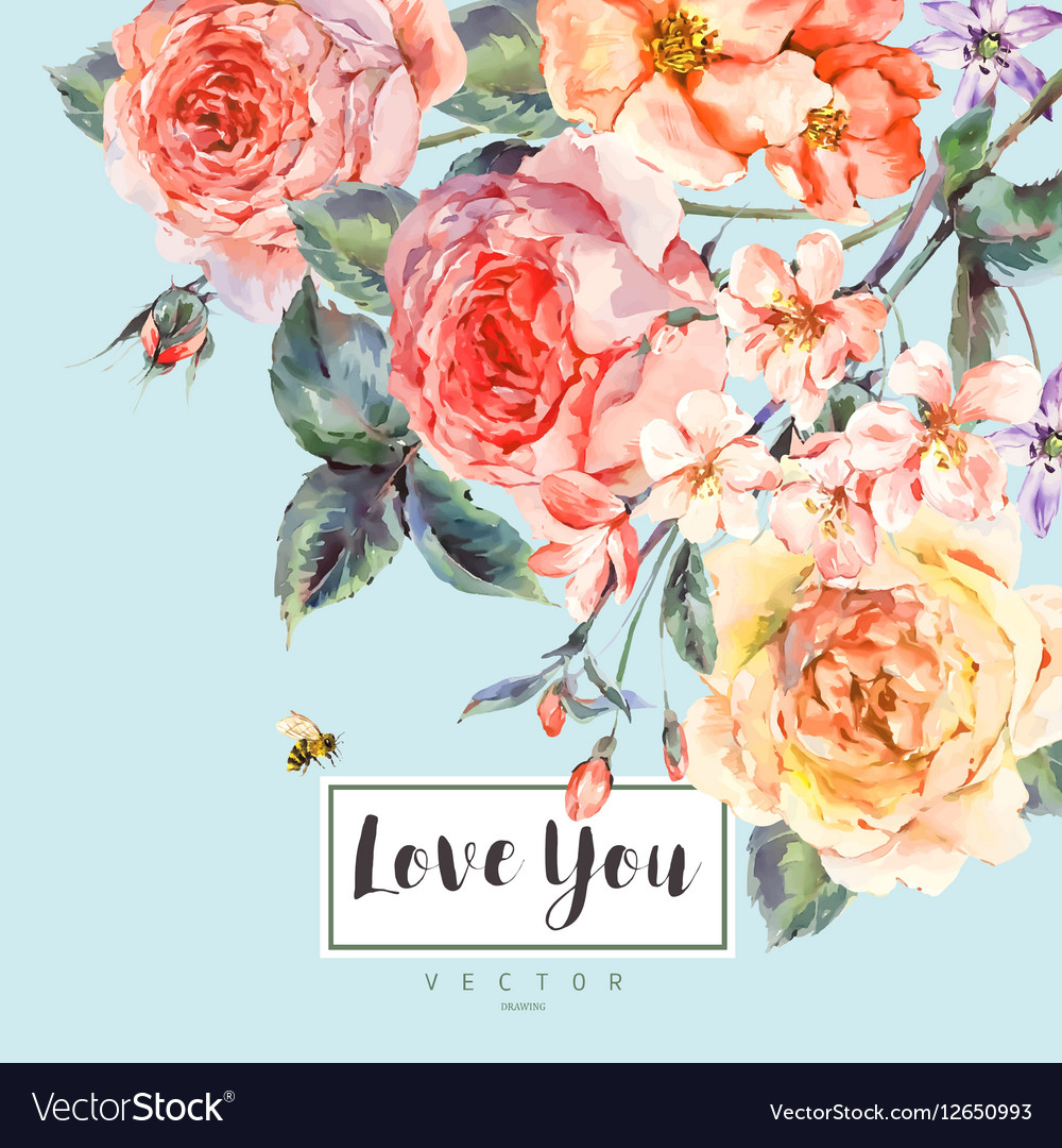 Spring vintage floral greeting card with vector image