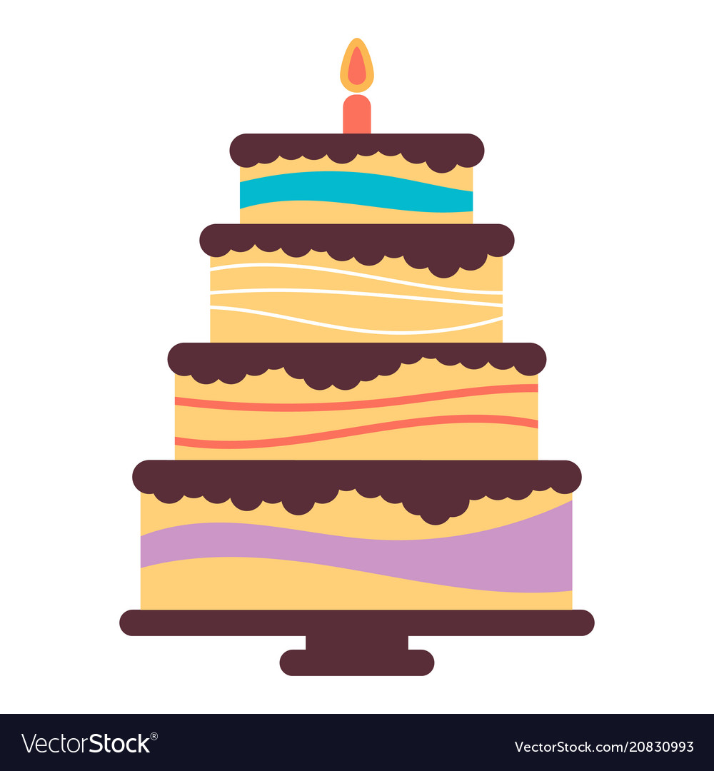 Sweet birthday cake with burning candle