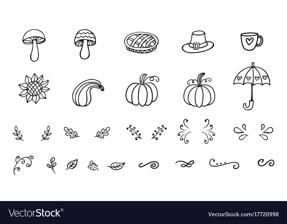 Autumn doodles collection