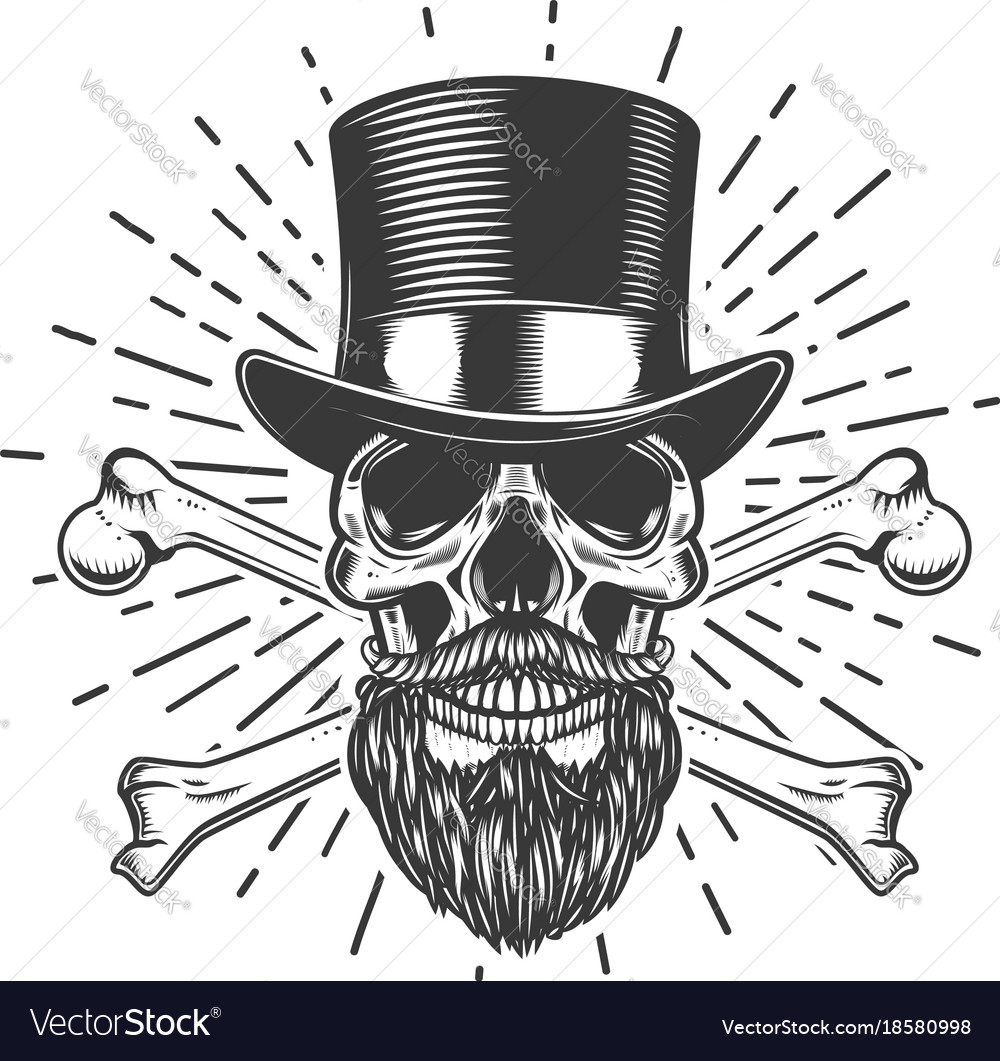 Bearded skull in vintage hat crossed bones design