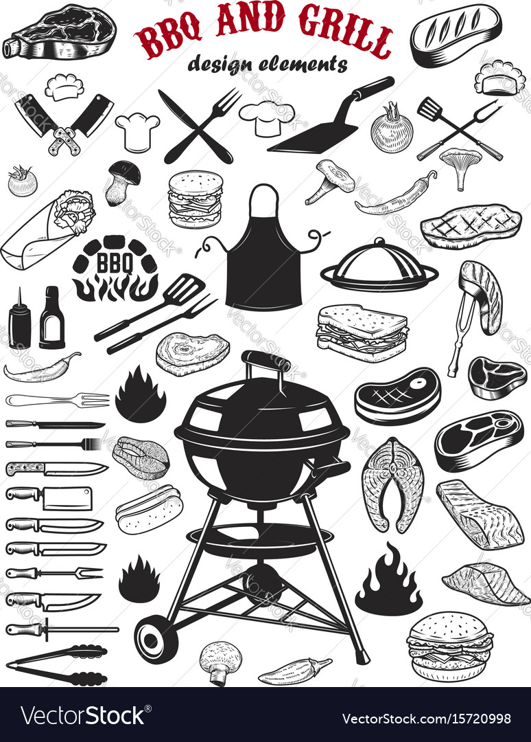 Big set of bbq and grill design elements kitchen