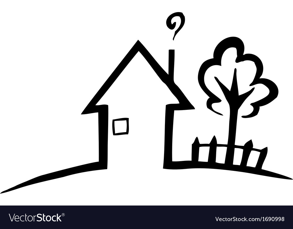 Black and white silhouette of a small house
