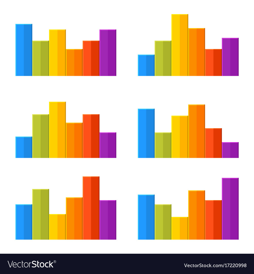 Colorful timeline infographic chart set vector image
