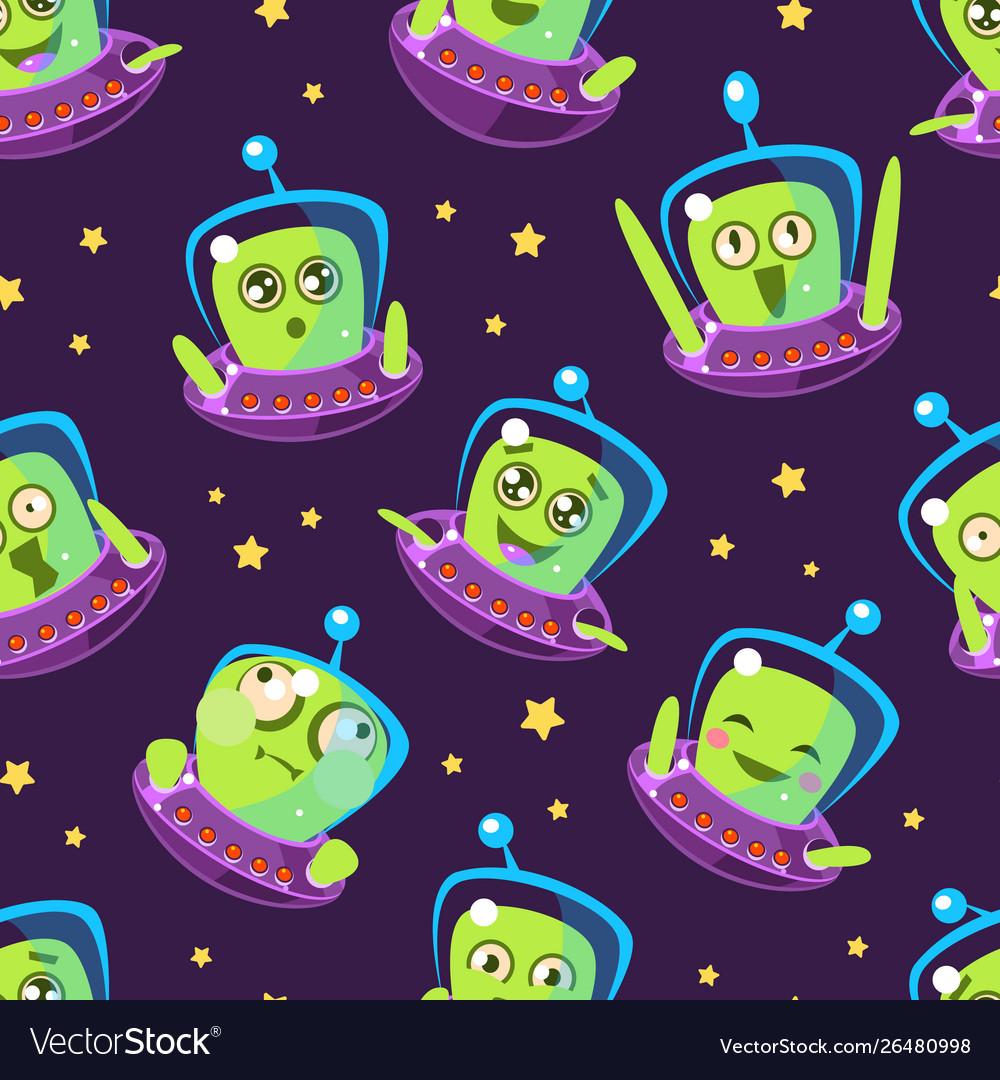 Cute funny alien in spaceship seamless pattern