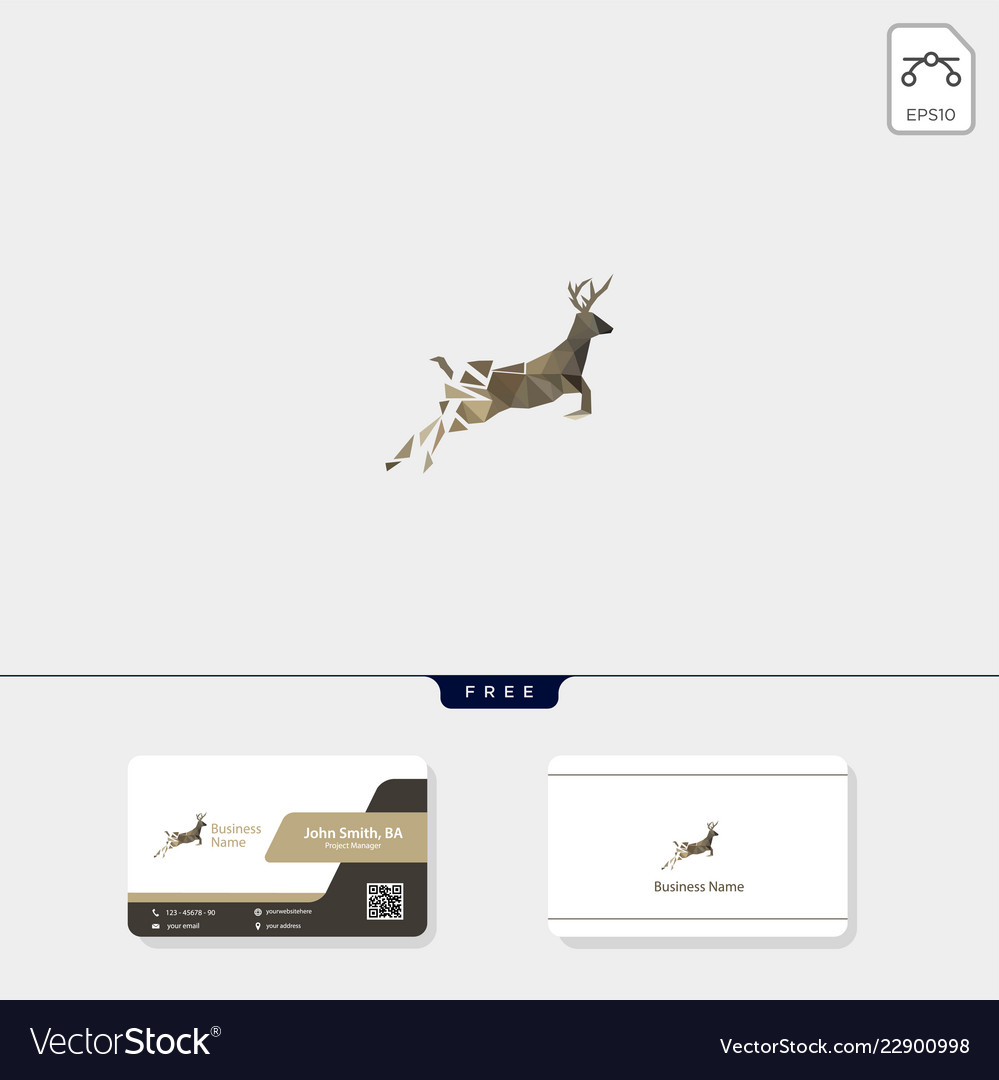 Deer low poly concept logo template free your