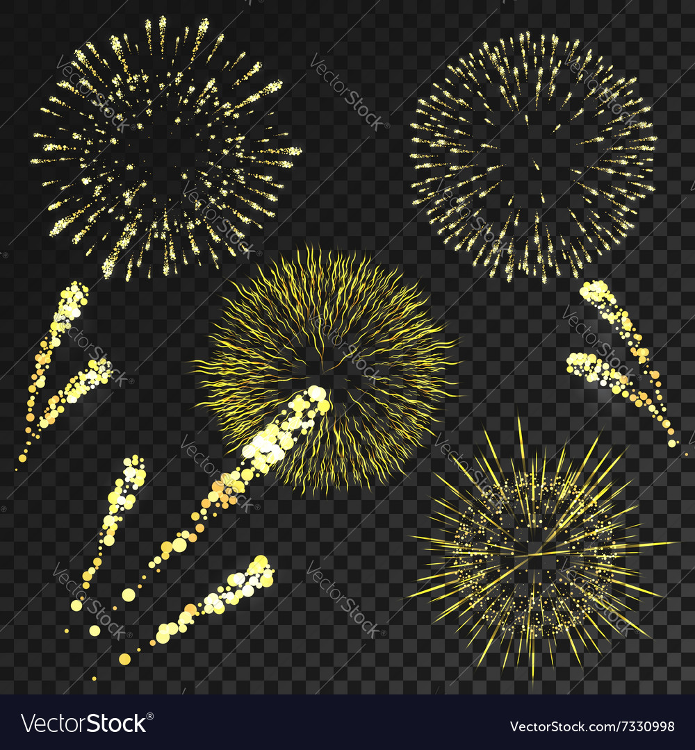 Fireworks set in various shapes isolated on