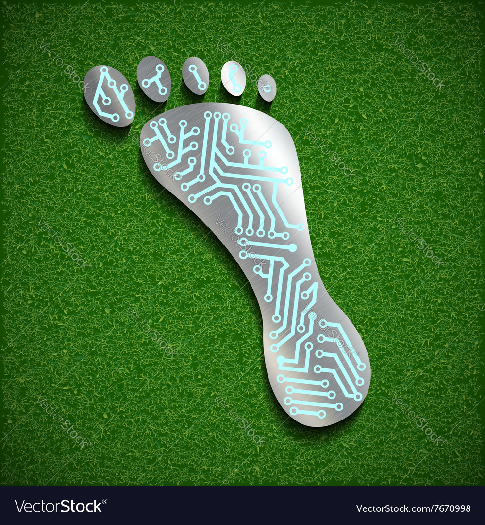 Footprint with a chip on the surface of the grass vector image