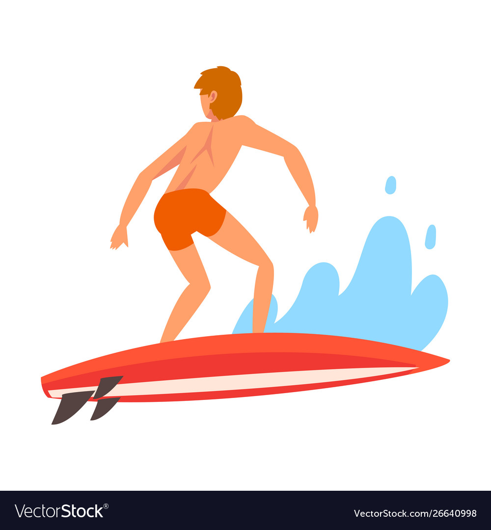 Male surfer character riding waves recreational