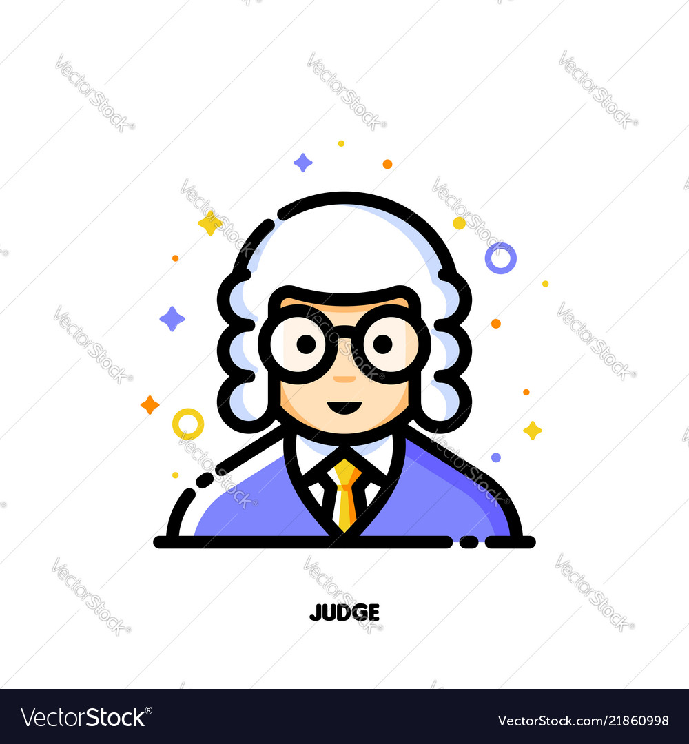 Male user avatar of judge icon of cute boy face