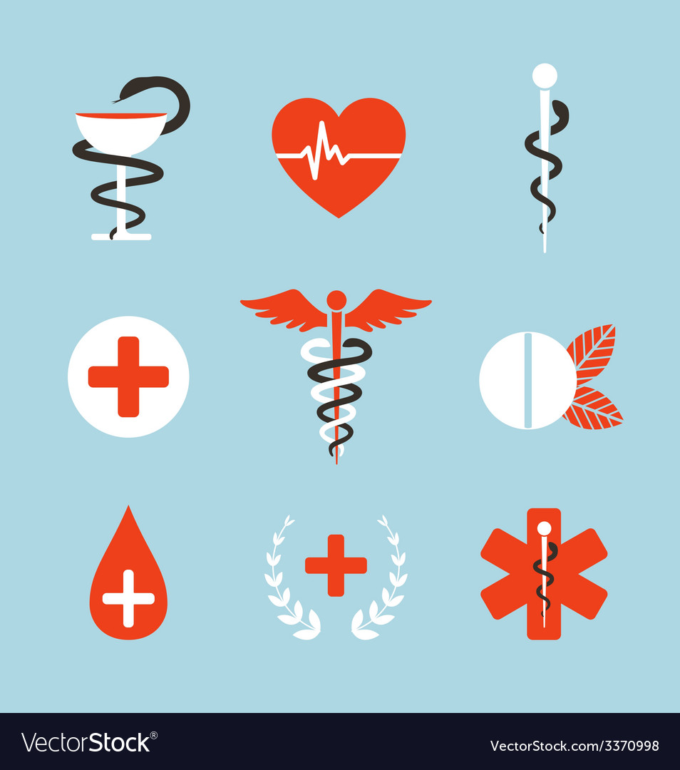 medical symbols emblems and signs collection vector image