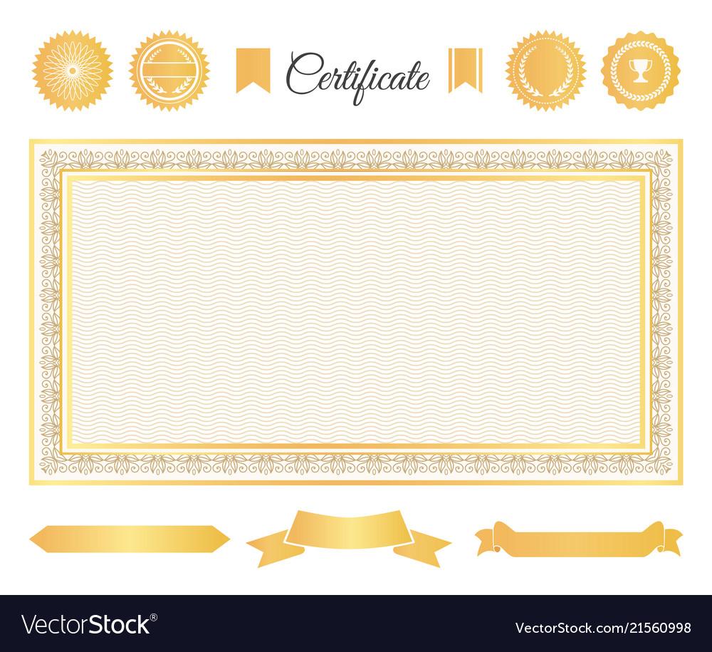 Official certificate gold decorative elements set