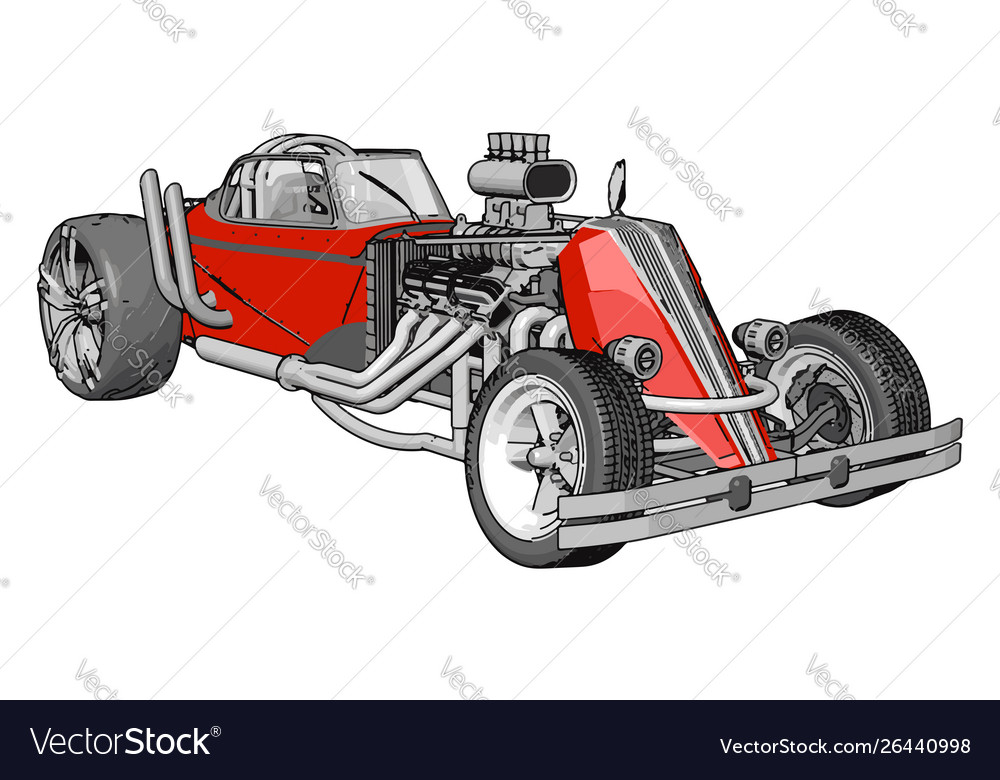 Red retro racing car on white background
