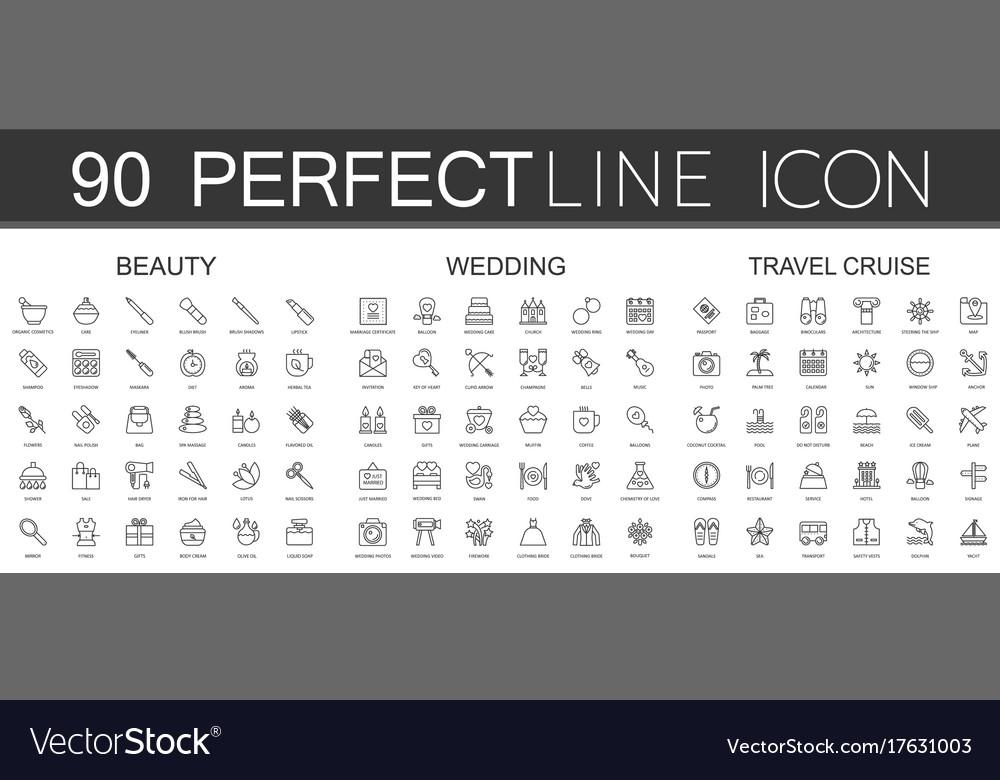 90 modern thin line icons set of beauty cosmetics