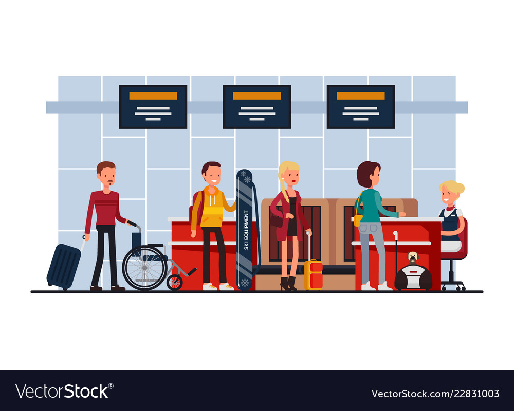 Airport terminal security check-in desk
