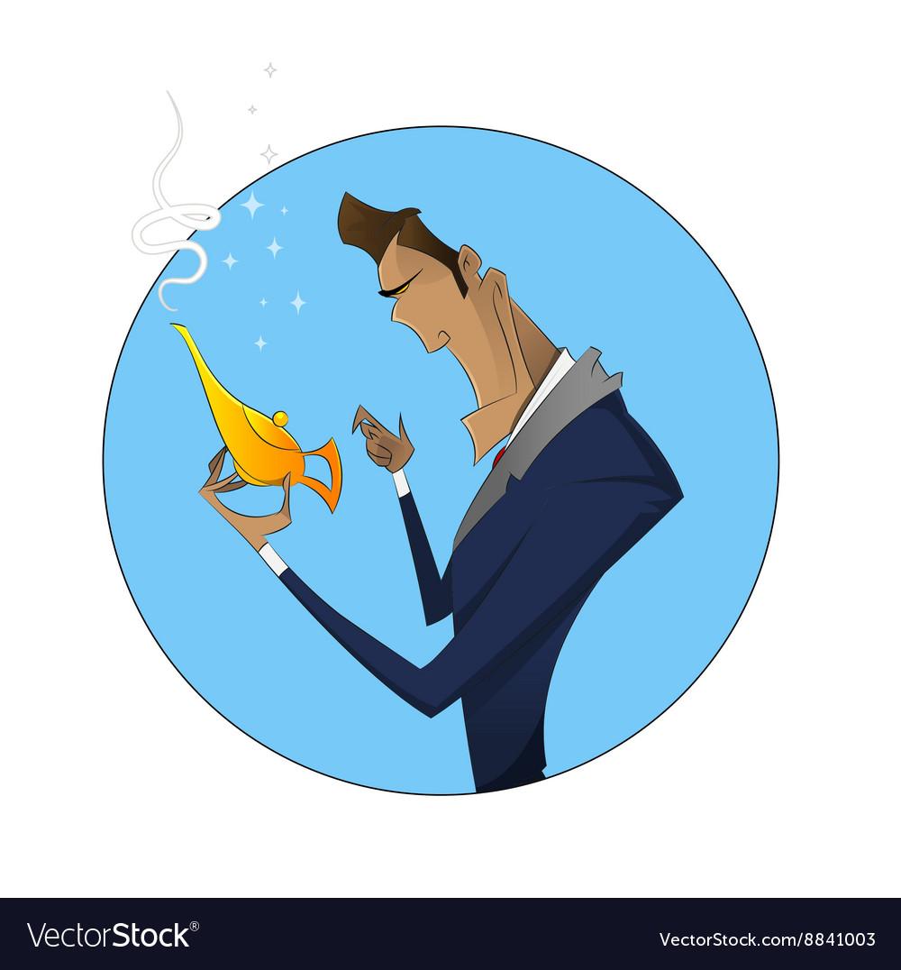 Cartoon businessman with magic