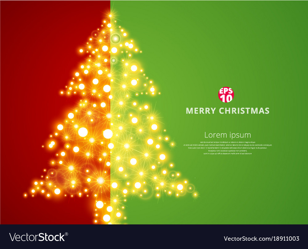 Christmas Tree Lighting On Green Red Background
