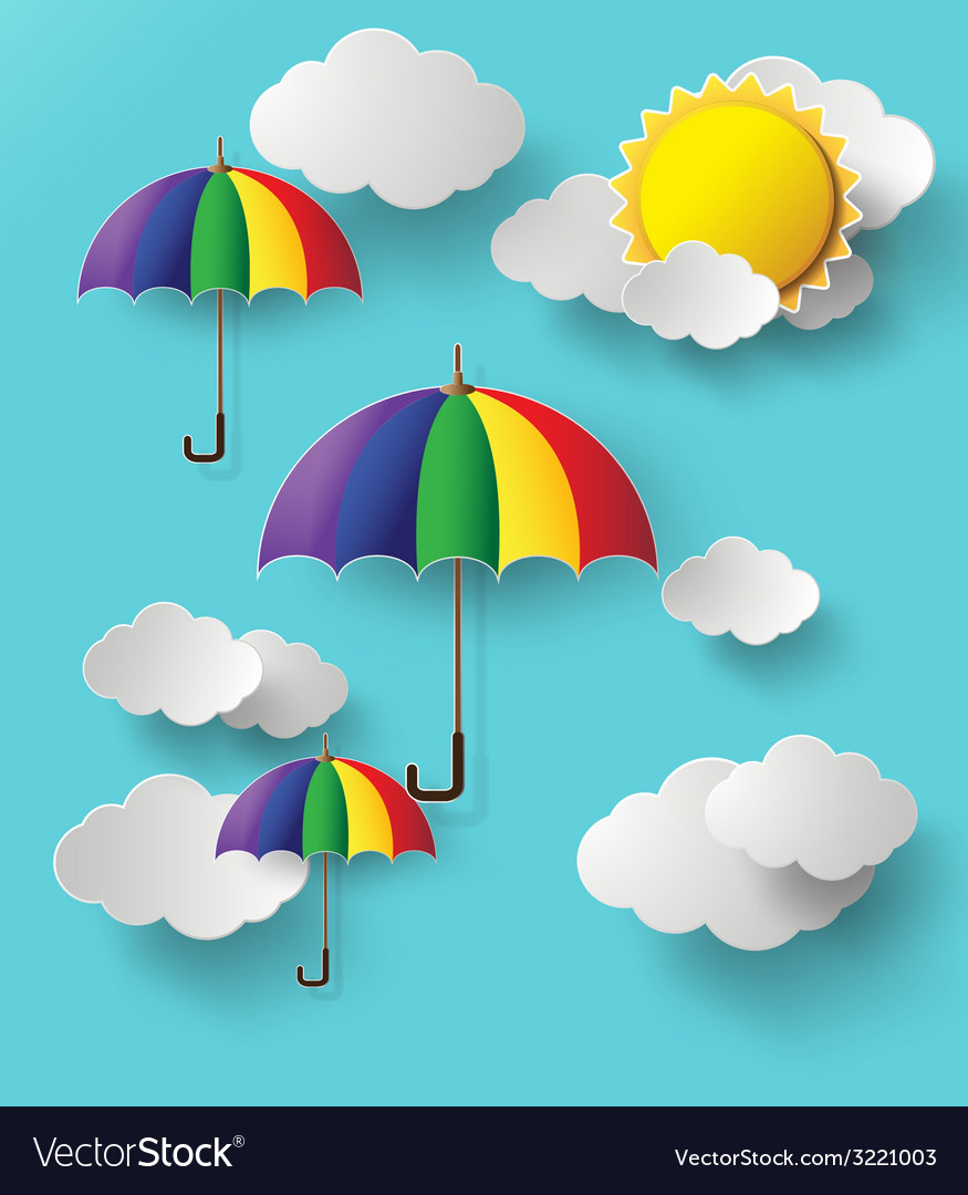 Colorful umbrella on sky