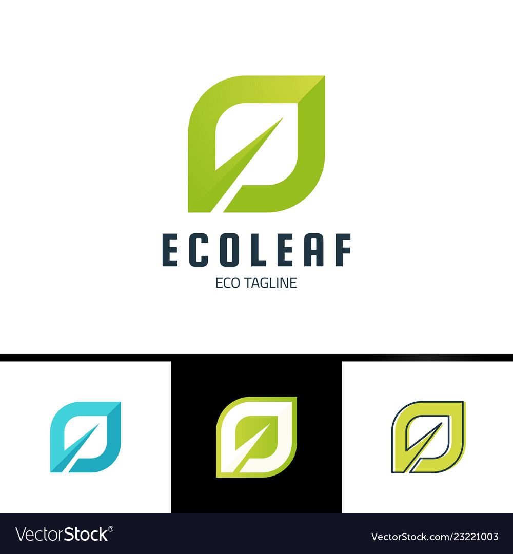 Ecology leaf logo green eco logotype in simple