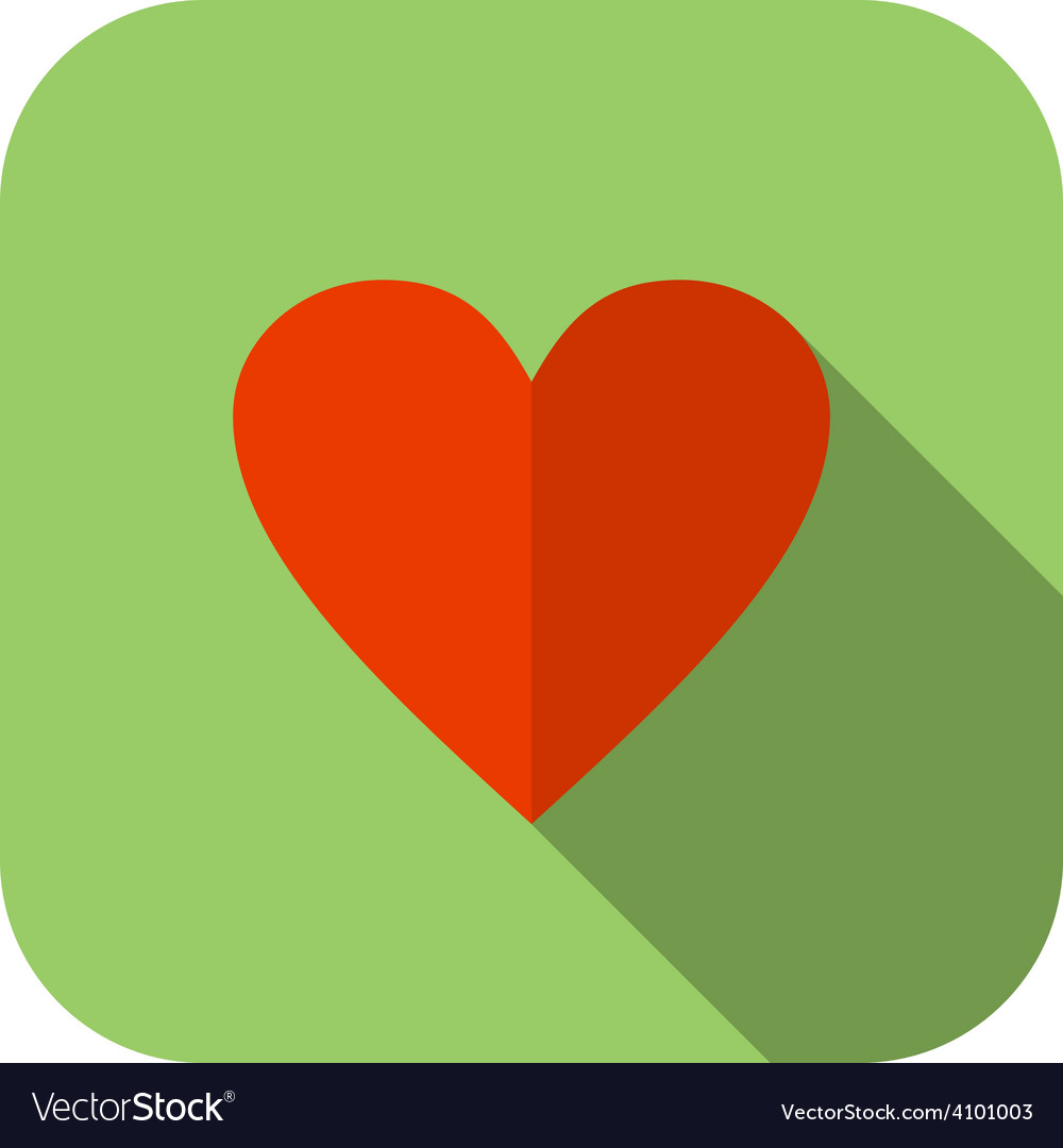 Flat heart icon Green background with rounded