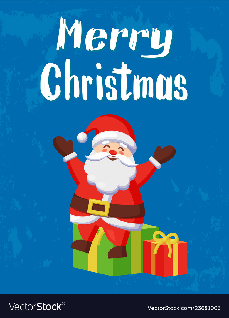 Merry Christmas Warm Wishes Card Santa And Gifts Vector Image