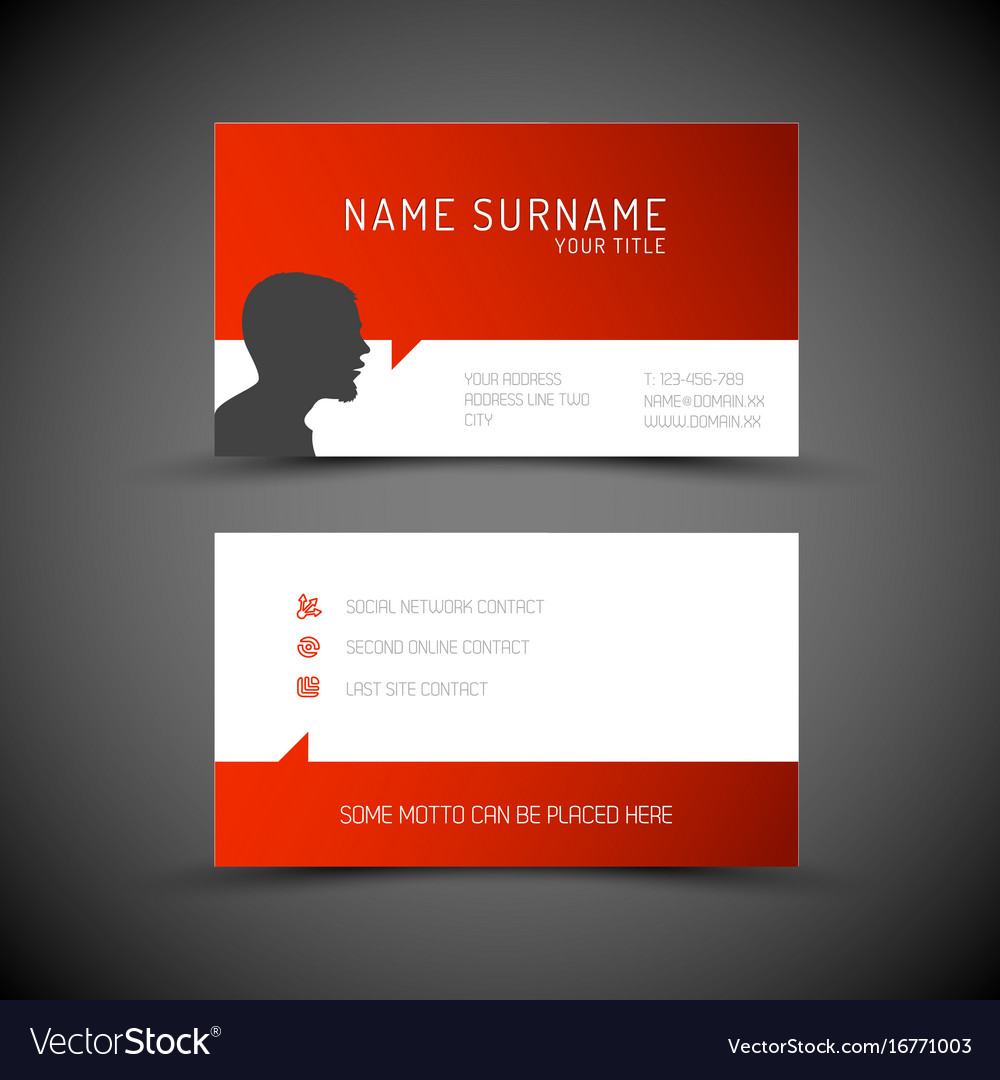 Modern simple red business card template with vector image accmission