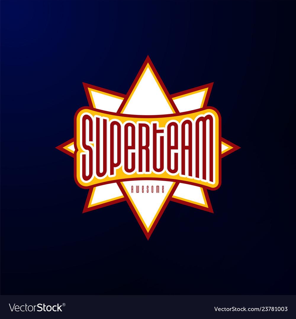 Sport emblem typography super team hero logotype