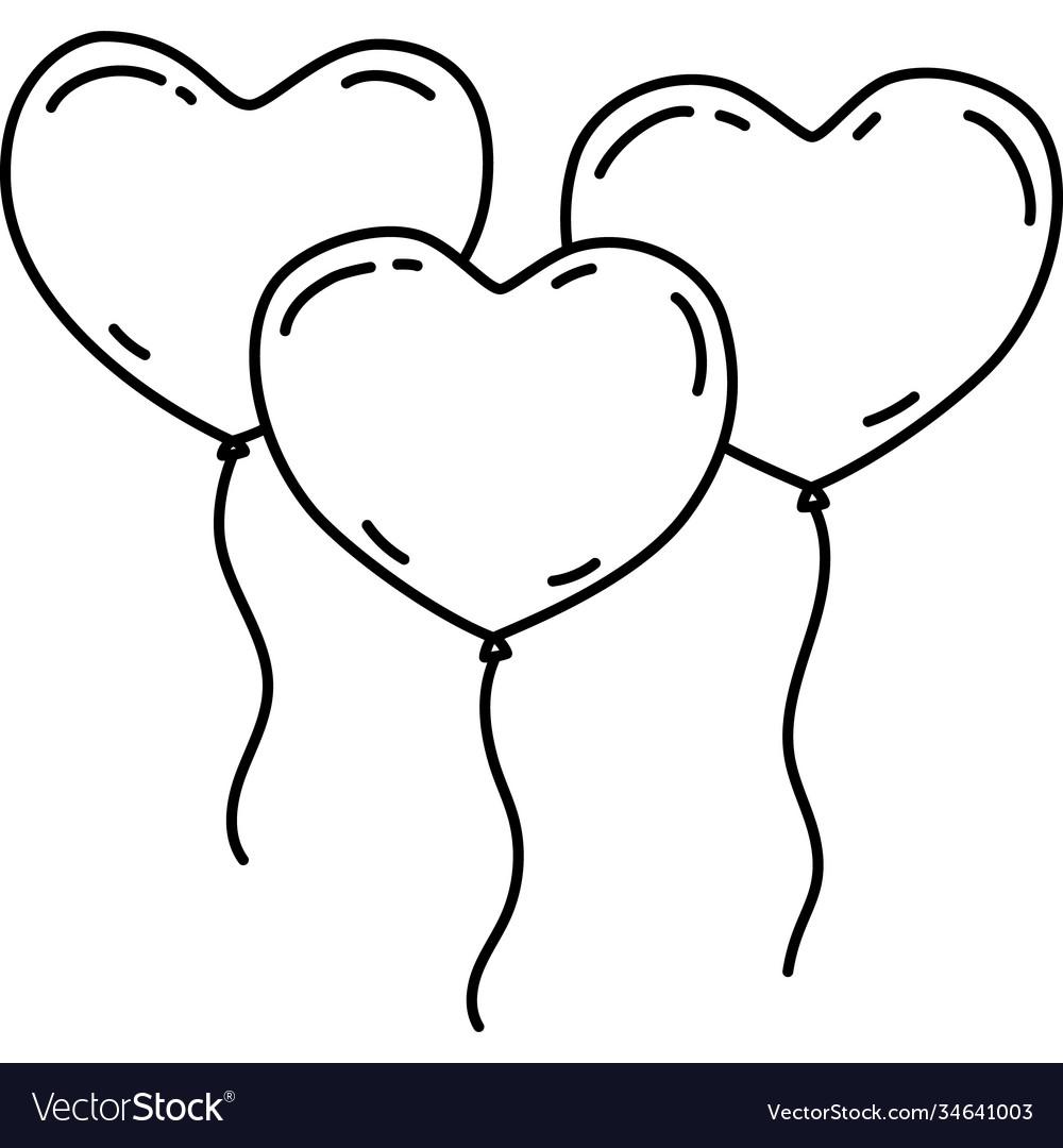 Three heart balloon icon doddle hand drawn