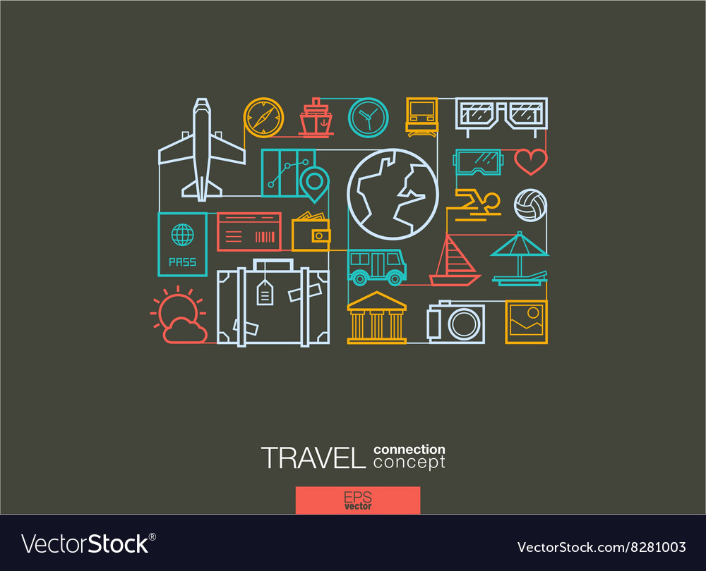 Travel integrated thin line symbols Modern linear