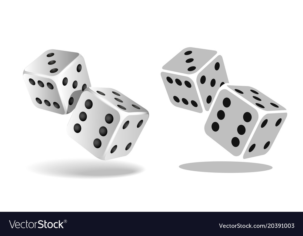 Two white falling dice isolated on white