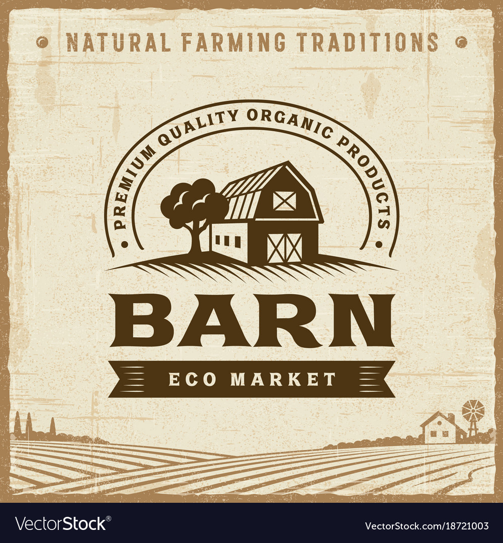 Vintage barn label vector image