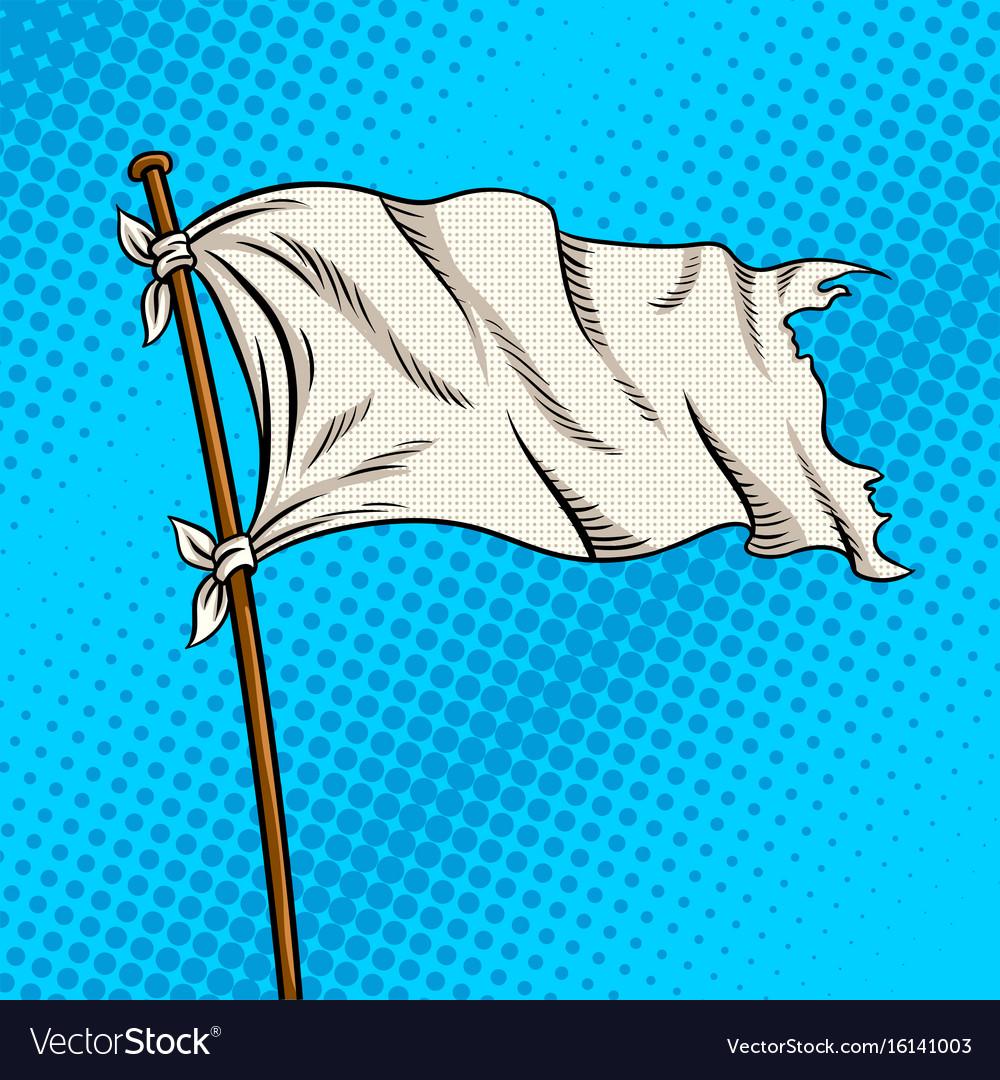 White flag pop art style vector image