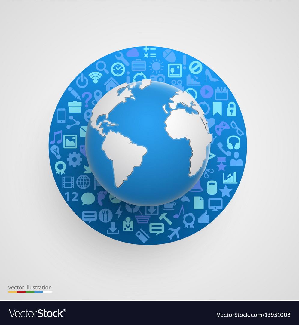 World globe with app icons royalty free vector image world globe with app icons vector image gumiabroncs Images
