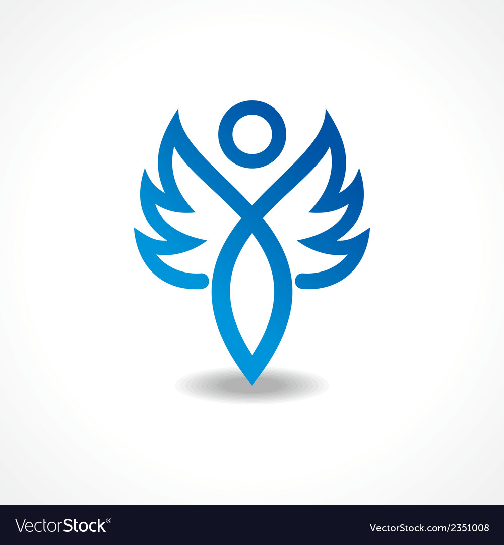 Abstract blue lady icon