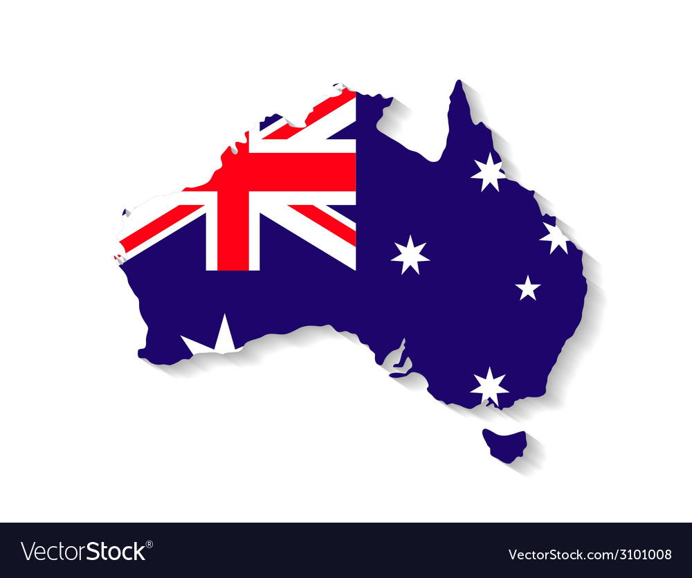 Australia Map With Flag.Australia Flag Map With Shadow Effect