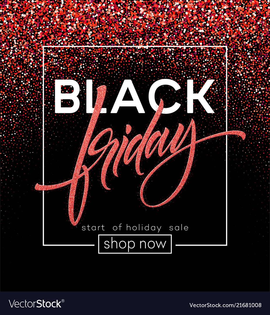 Black friday lettering red glitter sparkle
