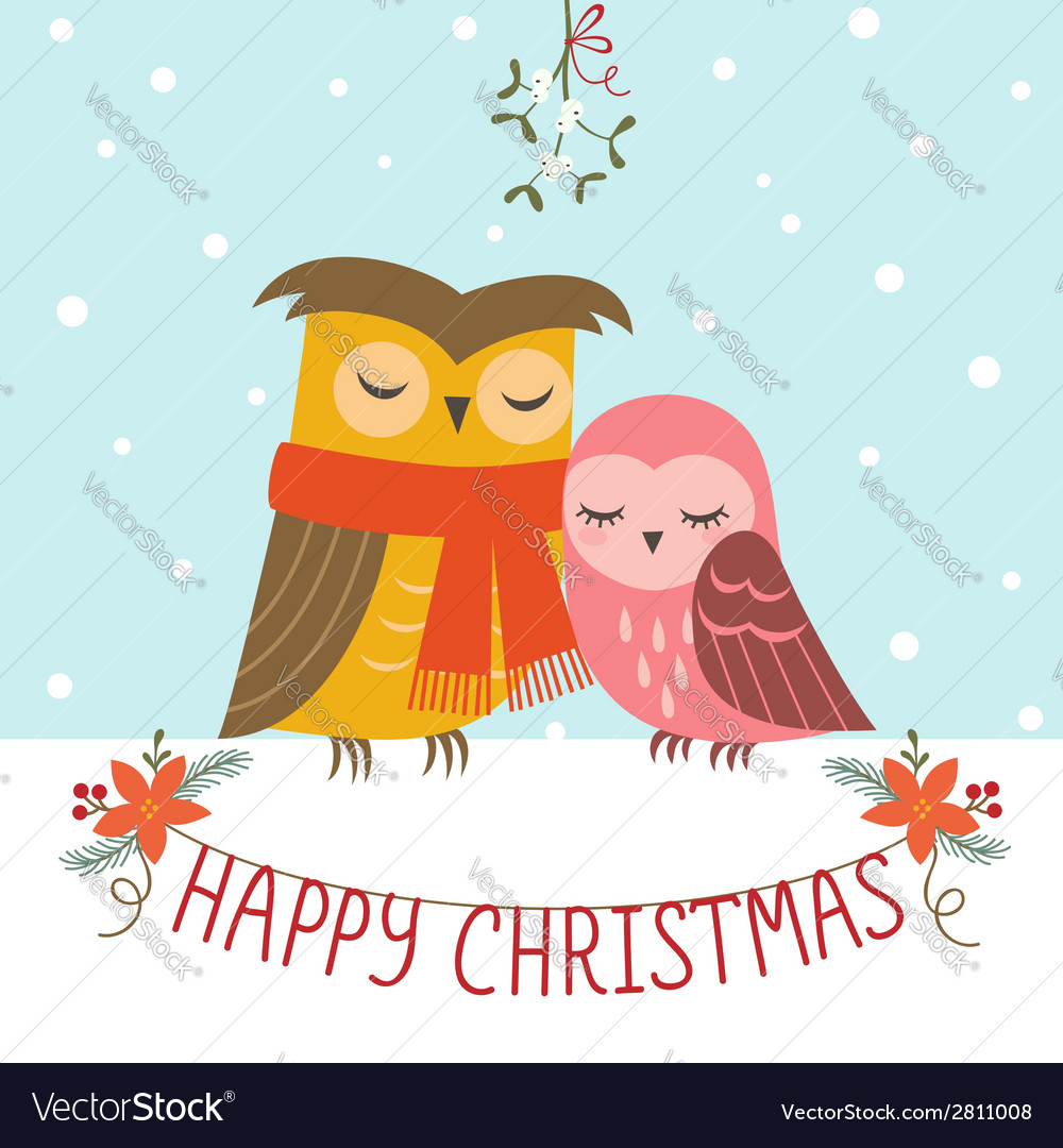 Christmas couple of owls