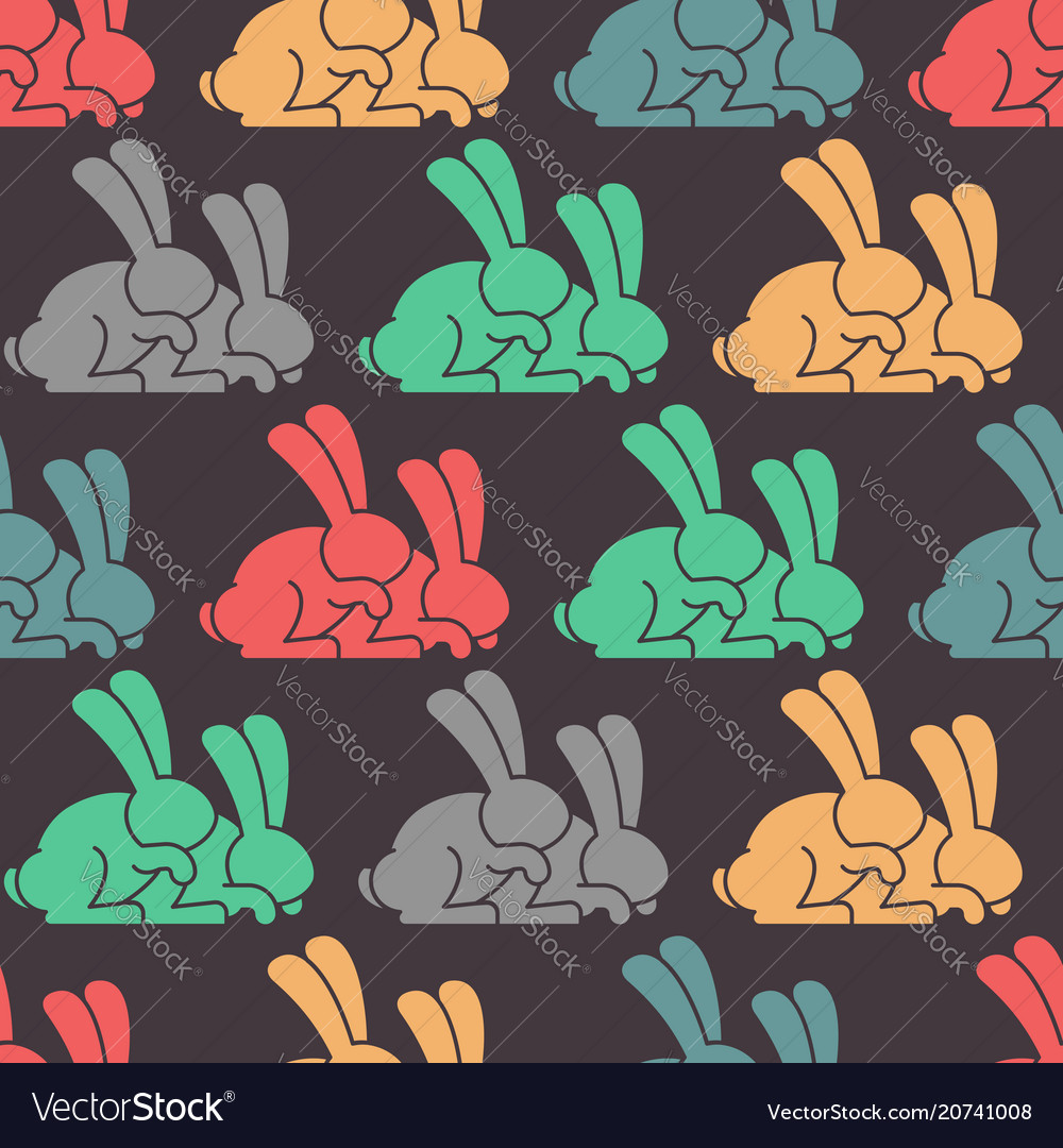 Colored rabbit seamless pattern hare ornament